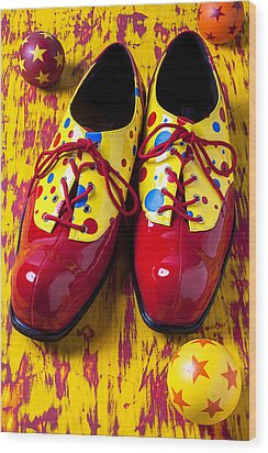 Clown Shoes And Balls Wood Print by Garry Gay