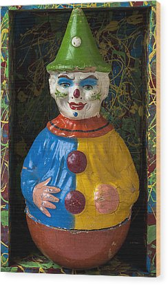 Clown Toy In Box Wood Print by Garry Gay