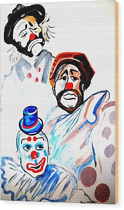 Wood Print featuring the painting Clowns In Heaven by Nora Shepley