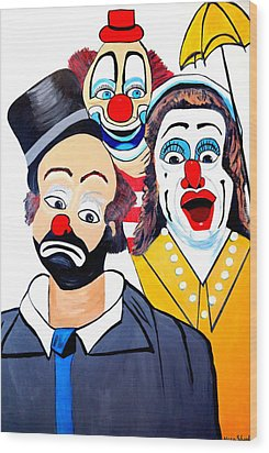 Wood Print featuring the painting Clowns In Shock by Nora Shepley