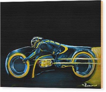 Clu's Lightcycle Wood Print by Kayleigh Semeniuk