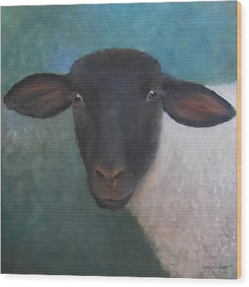 Wood Print featuring the painting Clyde - A Suffolk Lamb Painting by Cheri Wollenberg