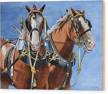 Wood Print featuring the painting Clydesdale Duo by Debbie Hart
