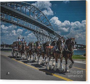 Clydesdales And Blue Water Bridges Wood Print