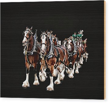 Clydesdales Hitch Wood Print by Constantine Gregory