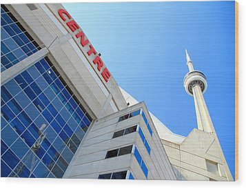 Cn Tower And Rogers Centre Wood Print by Valentino Visentini