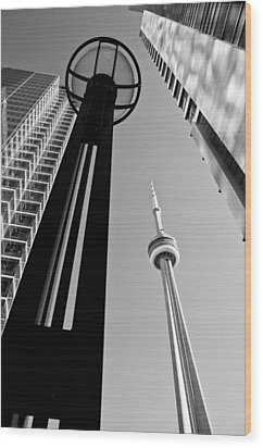 Cn Tower Surrounded Wood Print