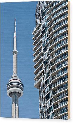 Wood Print featuring the photograph Cn Tower Toronto Ontario by Marek Poplawski