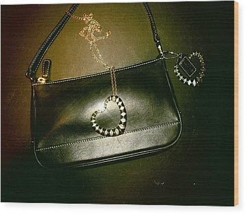 Coach Bag With Space Love Bling Wood Print by Robert Cunningham