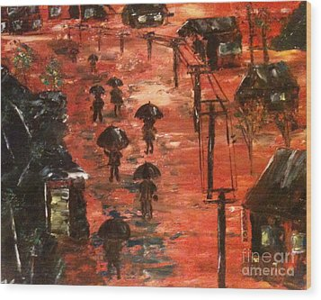 Wood Print featuring the painting Coal Miners Cove  by Denise Tomasura