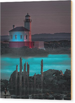 Coaquille Lighthouse Wood Print by Tim Bryan