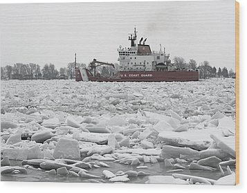 Coast Guard Cutter And Ice 6 Wood Print by Mary Bedy