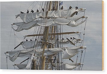 Coast Guard Cutter Eagle Opsail 2012 Wood Print by Marianne Campolongo