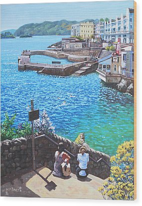 Coast Of Plymouth City Uk Wood Print by Martin Davey