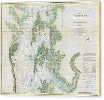 Coast Survey Chart Or Map Of The Chesapeake Bay Wood Print by Paul Fearn