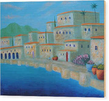 Wood Print featuring the painting Coastal Colors by Larry Cirigliano