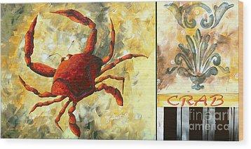 Coastal Crab Decorative Painting Original Art Coastal Luxe Crab By Madart Wood Print by Megan Duncanson
