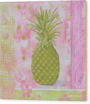 Coastal Decorative Pink Green Floral Greek Pattern Fruit Art Fresh Pineapple By Madart Wood Print by Megan Duncanson