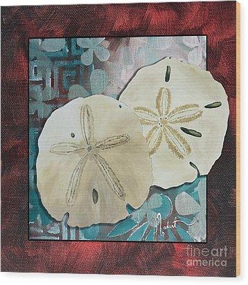 Coastal Decorative Shell Art Original Painting Sand Dollars Asian Influence I By Megan Duncanson Wood Print by Megan Duncanson