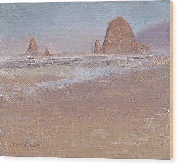 Coastal Escape  Cannon Beach Oregon And Haystack Rock  Wood Print by Karen Whitworth