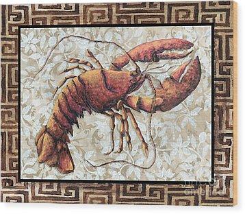 Coastal Lobster Decorative Painting Greek Border Design By Madart Studios Wood Print by Megan Duncanson