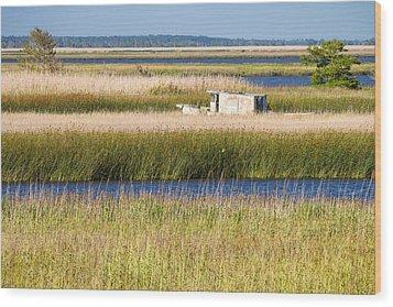 Coastal Marshlands With Old Fishing Boat Wood Print by Bill Swindaman