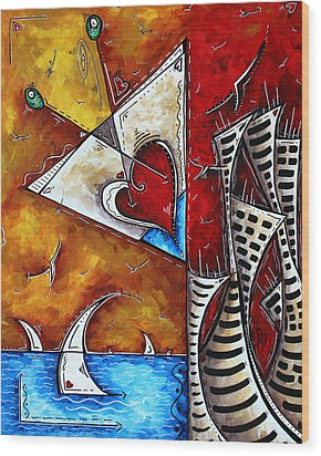 Coastal Martini Cityscape Contemporary Art Original Painting Heart Of A Martini By Madart Wood Print by Megan Duncanson