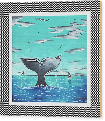 Coastal Nautical Decorative Art Original Painting Whale Tail Chevron Pattern Sea Farer By Madart Wood Print by Megan Duncanson