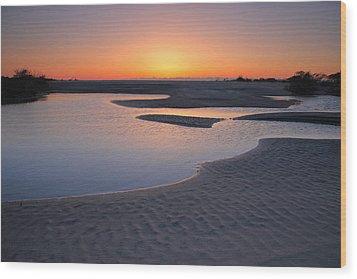 Coastal Ponds At Sunrise II Wood Print by Steven Ainsworth
