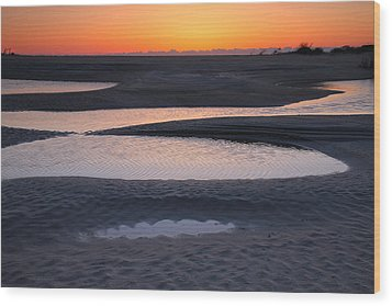 Coastal Ponds At Sunrise Wood Print by Steven Ainsworth