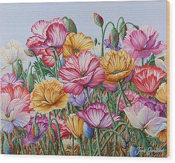 Coastal Poppies Wood Print by Jane Girardot
