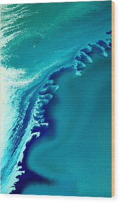 Coastal Surf Blue Abstract Waves By Kredart Wood Print by Serg Wiaderny