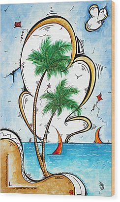 Coastal Tropical Art Contemporary Sailboat Kite Painting Whimsical Design Summer Daze By Madart Wood Print by Megan Duncanson