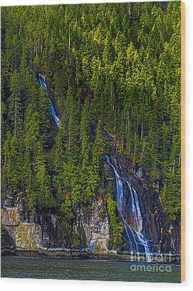 Coastal Waterfall Wood Print by Robert Bales