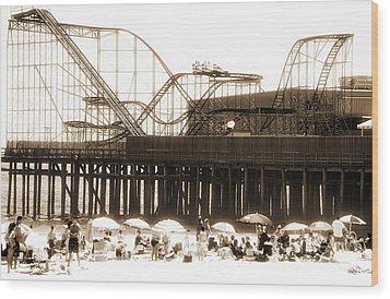 Coaster Ride Wood Print by John Rizzuto