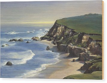 Coastline Half Moon Bay Wood Print by Terry Guyer