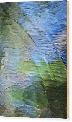 Coastline Mosaic Abstract Art Wood Print by Christina Rollo
