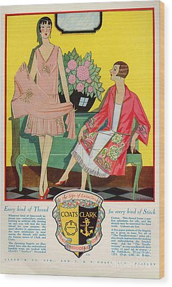 Coats And Clark  1920s Uk Art Deco Wood Print by The Advertising Archives