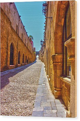 Rhodes Cobbled Street Wood Print