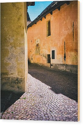 Wood Print featuring the photograph Cobbled Street by Silvia Ganora
