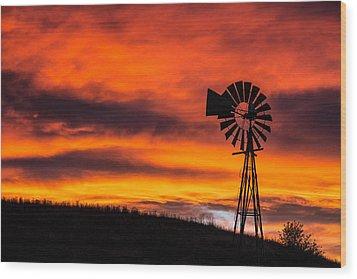 Cobblestone Windmill At Sunset Wood Print