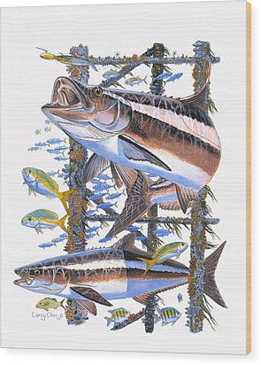 Cobia Hangout Wood Print by Carey Chen