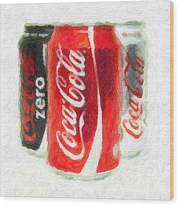 Coca Cola Art Impasto Wood Print