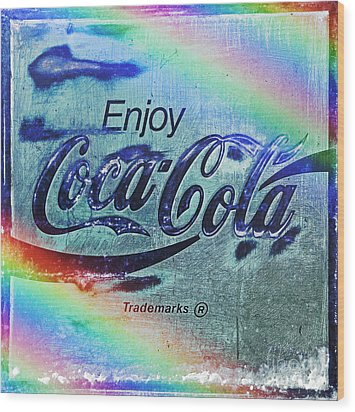Coca Cola Rainbow Wood Print