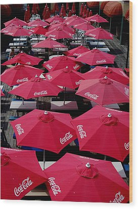 Coca Cola Red Umbrella's Wood Print by Rick Todaro