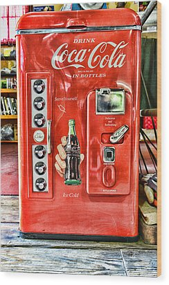 Coca-cola Retro Style Wood Print by Paul Ward