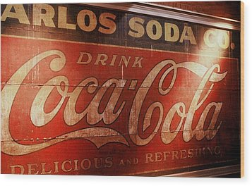 Wood Print featuring the photograph Coca Cola Sign by Rodney Lee Williams