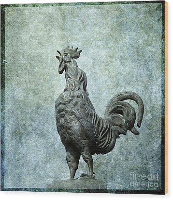 Cock Wood Print by Bernard Jaubert
