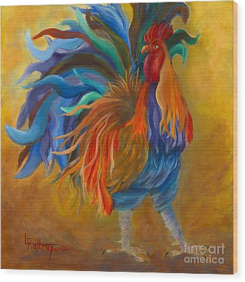 Cock-of-the-walk Wood Print by Lynn Rattray