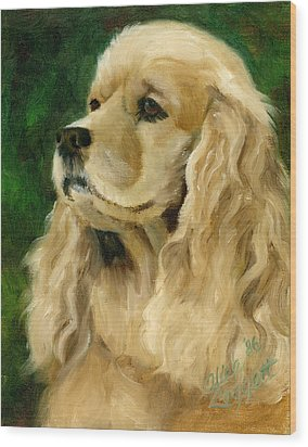 Cocker Spaniel Dog Wood Print by Alice Leggett